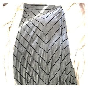 Grey & Black Striped Maxi Skirt